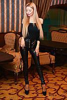 Лосины женские кожаные со шнуровкой 9036 ш