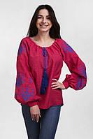 Молодежная женская вышиванка малинового цвета