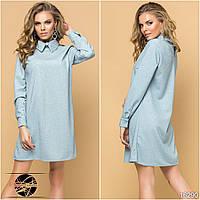 Женское платье с люрексом голубого цвета. Модель 16290