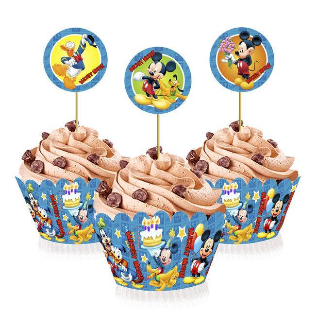 """Топперы для капкейков, десертов и кексов """"Микки Маус"""", 6 шт./уп."""