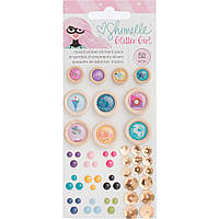 Деревяні гудзики - American Crafts - Shimelle Glitter Girl 52Pkg