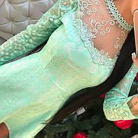Красивое вечернее платье жаккард с кужевом