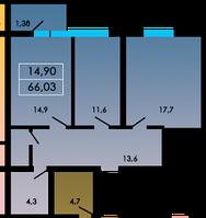 2 комнатная квартира 66,03 метра ЖК «ЛесSky», село Лески, фото 1