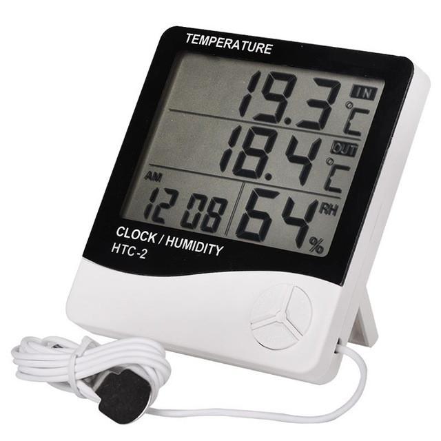 Гигрометр HTC-2 с функ. термометр внутр.+улица / влагомер  / часы  / будильник / календарь
