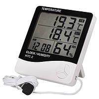 Гигрометр Термометр Влагомер Часы Будильник +Уличный дщатчик HTC-2, фото 1