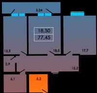 2 комнатная квартира 77,45 метра ЖК «ЛесSky», село Лески, фото 1