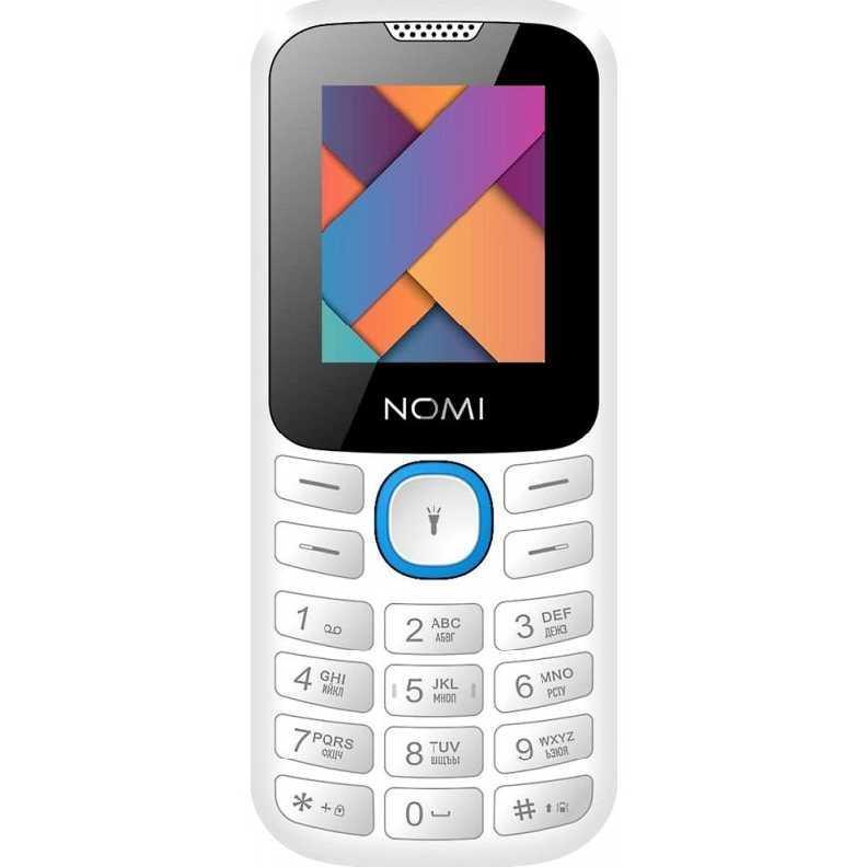 Простой кнопочный телефон с фонариком на 2 сим карты Nomi i184 бело-голубой