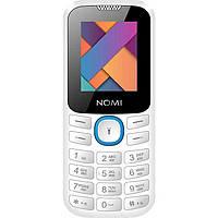 Простой кнопочный телефон с фонариком на 2 сим карты Nomi i184 бело-голубой, фото 1
