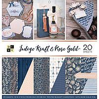 Набір двостороннього паперу - DCWV - Indigo Kraft & Rose Gold - WFoil - 30х30 ЦІНА ЗА ПІВ НАБОРУ!!!