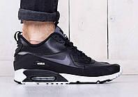 Мужские зимние кроссовки Nike Air Max 90 Sneakerboot Winter (Найк Аир Макс) черно-белые