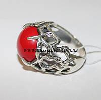 Перстень с кораллом в серебре Wood secret