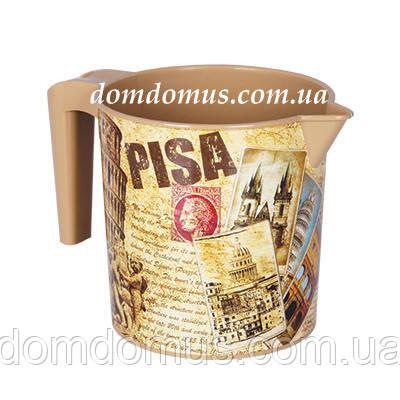 """Кружка мерная пластиковая с декором """"Pisa""""  Elif Plastik, Турция"""
