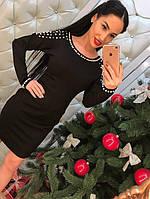 Стильное короткое черное платье с жемчугом открытая спинка