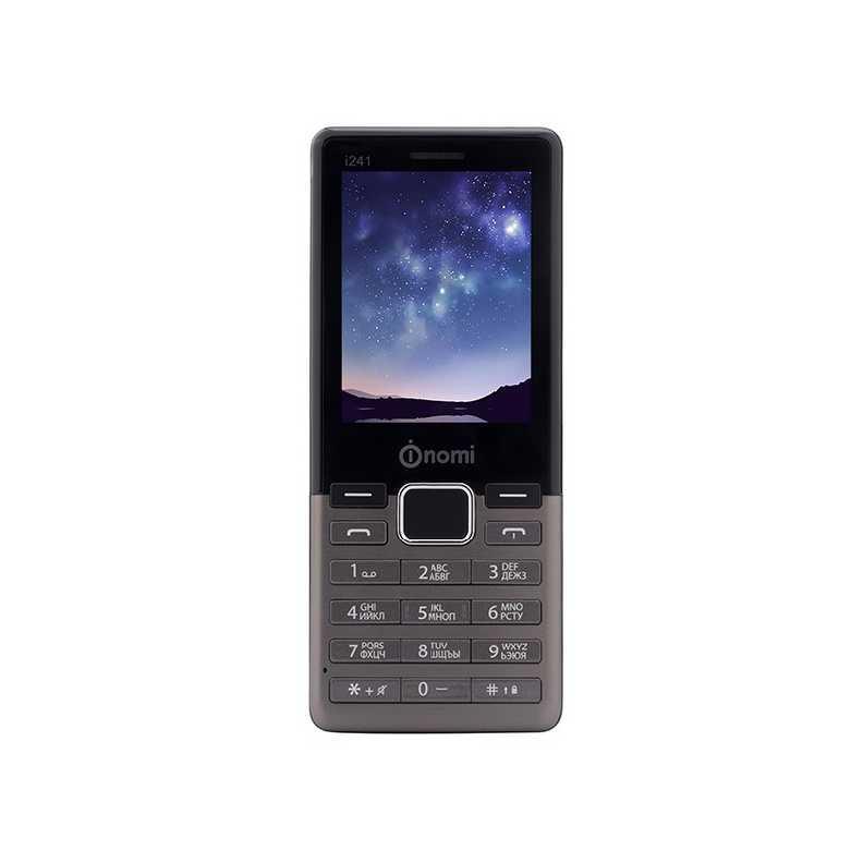 Телефон кнопочный с металлической вставкой на 2 сим карты Nomi i241+ Metal серый