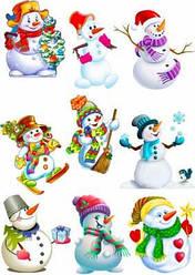 """Вафельная картинка для для пряников, пирожных топперов """"Снеговики"""", (лист А4)"""