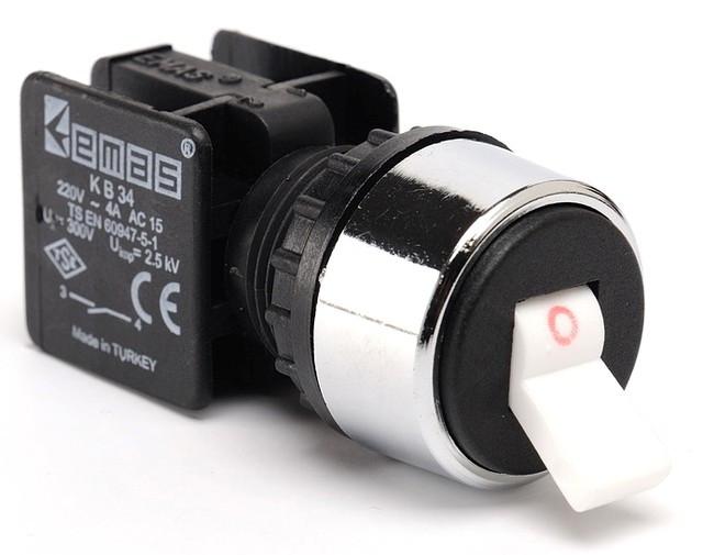 Кнопка-тумблер 22мм 0-1 (1НО+1НЗ) KB14C