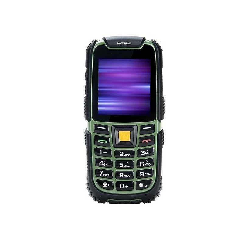 Противоударный кнопочный телефон на 2 сим карты Nomi i242 X-Treme зелёный