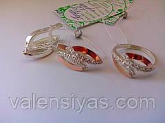 Ювелирные украшения - серебряное кольцо и серьги. Серебряные украшения с золотом., фото 3