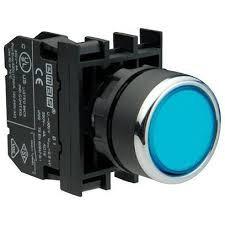Кнопка нажимная круглая D22 (мм) с фиксацией  (1НО) B100FM синяя