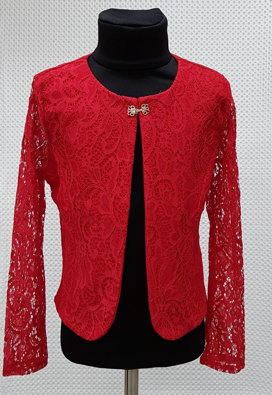 Пиджак-болеро гипюровый р.134-152 красный