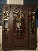 Двері вхідні з склопакетом та ковкою елітні