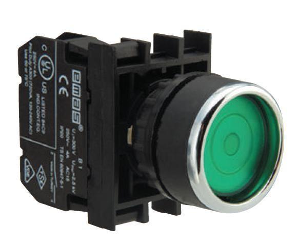 Кнопка нажимная круглая D22 (мм) с фиксацией  (1НЗ) B200FY зелёная
