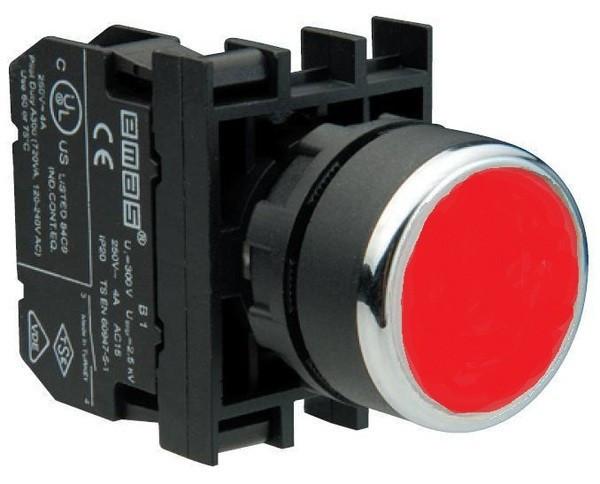 Кнопка нажимная круглая D22 (мм) с фиксацией  (1НО) B100FK красная
