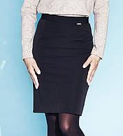 Классическая черная юбка прямого фасона со средней посадкой. Модель Ela Zaps, коллекция осень-зима 2015