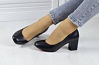 Туфли женские классические на низком удобном каблуке Черные