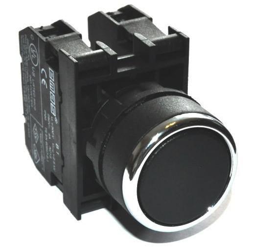 Кнопка нажимная круглая D22 (мм)  (1НО+1НЗ) B102DH чёрная