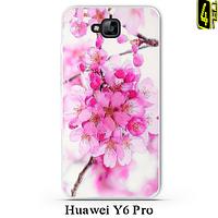Чехол для Huawei Y6 Pro, 3D бампер, FR01, цветущая вишня