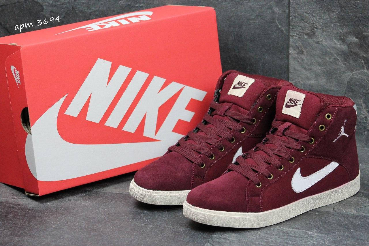 8049d48337a6 Высокие зимние кроссовки Nike Jordan замшевые .бордовые - Интернет-магазин  Дом Обуви в Хмельницком
