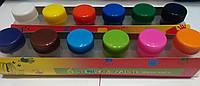Краски пальчиковые 12цветов смываемые, с кисточкой уп18