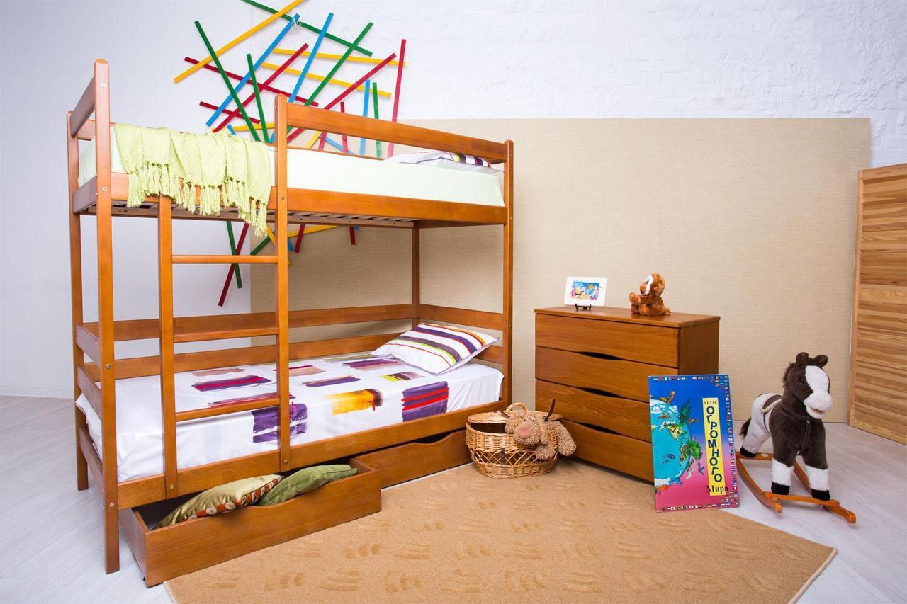 Двух ярусная кровать Амели с ящиками под белье со спальним местом 90*200см