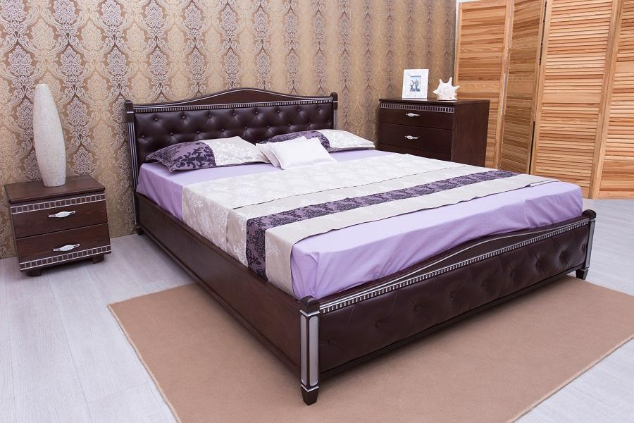 Кровать Прованс от ТМ Олимп кожзам с ромбами + патина 160х200