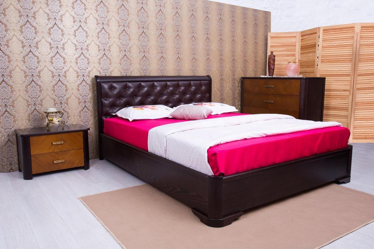 """Ліжко полуторне Олімп """"Мілена м'яка спинка ромби+мизмом"""" 140*200"""