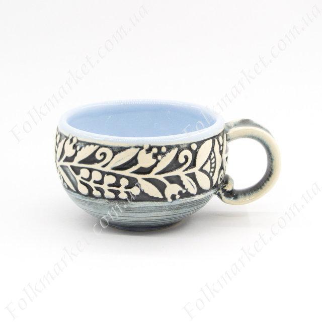 Кофейная чашка из керамики голубая 150 мл