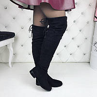 Женские демисезонные чёрные ботфорты замшевые