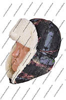 Зимняя мужская шапка-ушанка черный камуфляж