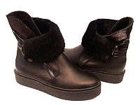 Женские ботинки зимние натуральная кожа с мехом черные Uk0507