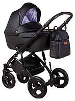 Универсальная детская коляска 2 в 1 Bair Leo BL-6 эко-кожа черная