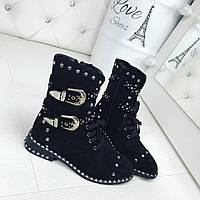 Женские демисезонные чёрные ботиночки замшевые  Rock
