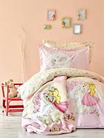 Постельное белье ранфорс Karaca Home Pink Pony подростковое
