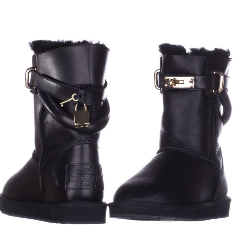 Угги женские кожаные Hermes 552078 черные - Sansa - зона комфорта в Харькове e65a91d1867