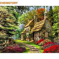 Живопись рисование по номерам Сельский пейзаж, село, Деревенский дом 40*50