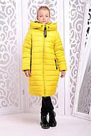 Зимнее пальто для девочки Ангел желтое