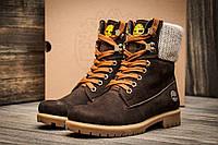 Ботинки Timberland, высокие зимние, унисекс, коричневые, нубук, р. 36 37 38 39 40 41