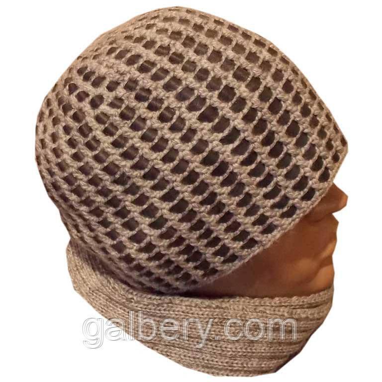 Мужская вязаная зимняя шапка серо - черного цвета c элементами кожи