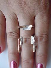 Срібне кільце і сережки.Набір срібних ювелірних прикрас із золотими вставками, фото 2