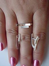 Срібне кільце і сережки.Набір срібних ювелірних прикрас із золотими вставками, фото 3